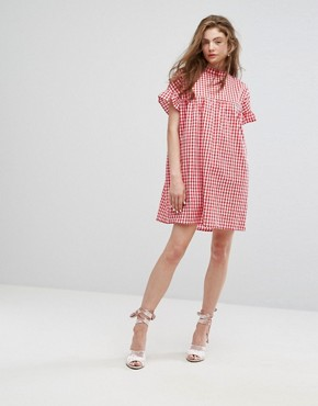 photo High Neck Smock Dress in Summer Gingham by Willow and Paige, color Red - Image 4