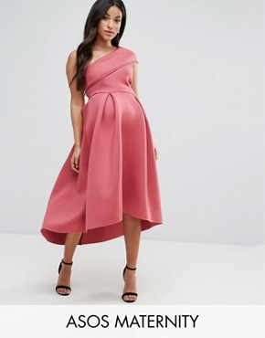 photo One Shoulder Foam Scuba Dip Back Midi Skater Dress by ASOS Maternity, color Berry - Image 1