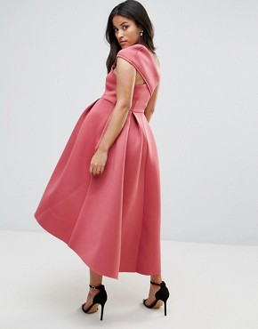 photo One Shoulder Foam Scuba Dip Back Midi Skater Dress by ASOS Maternity PETITE, color Berry - Image 2
