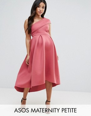 photo One Shoulder Foam Scuba Dip Back Midi Skater Dress by ASOS Maternity PETITE, color Berry - Image 1