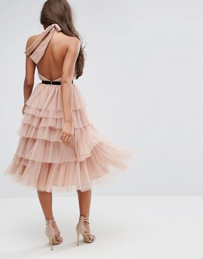 photo High Neck Tiered Tulle Midi Prom Dress by ASOS PREMIUM, color Mink - Image 2