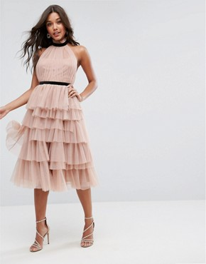 photo High Neck Tiered Tulle Midi Prom Dress by ASOS PREMIUM, color Mink - Image 1