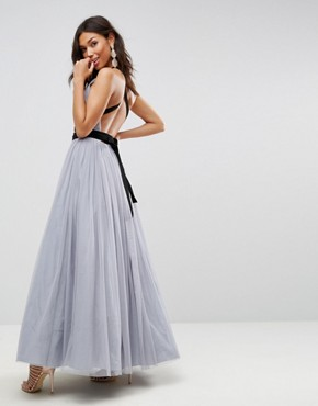 photo Tulle Maxi Prom Dress with Velvet Ties by ASOS PREMIUM, color Grey - Image 2