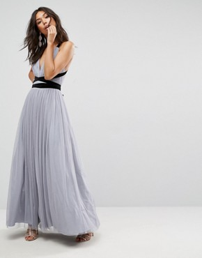 photo Tulle Maxi Prom Dress with Velvet Ties by ASOS PREMIUM, color Grey - Image 1