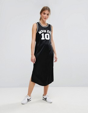 photo Basketball Midi Dress with Varsity Logo by Moss Copenhagen, color Black - Image 1