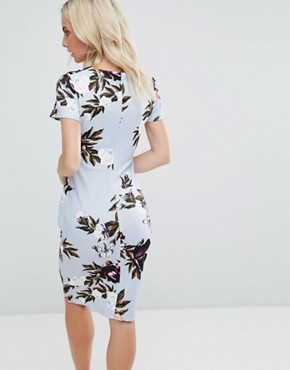 photo Square Neck Capped Sleeve Printed Dress by City Goddess Petite, color Blue - Image 2