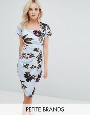 photo Square Neck Capped Sleeve Printed Dress by City Goddess Petite, color Blue - Image 1