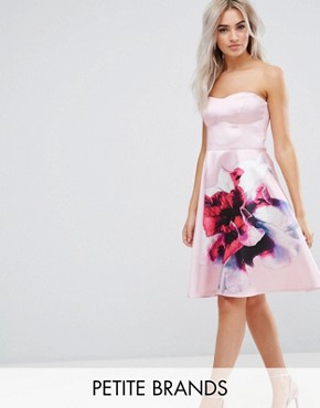 photo Bandeau Skater Dress with Placement Floral Print by City Goddess Petite, color Rose - Image 1