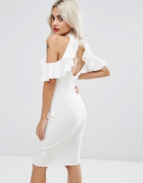 photo Pencil Dress with Ruffle Detail by City Goddess Petite, color White - Image 2