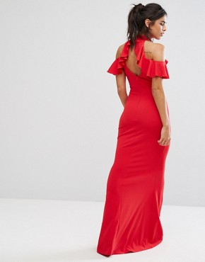 photo Maxi Dress with Ruffle Detail by City Goddess, color Red - Image 2