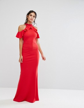 photo Maxi Dress with Ruffle Detail by City Goddess, color Red - Image 1