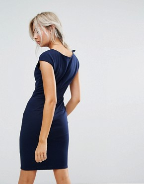 photo Pencil Midi Dress with Shoulder Bow Detail by City Goddess Petite, color Navy - Image 2