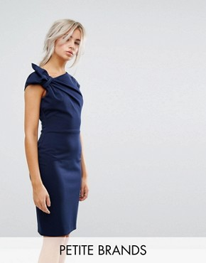 photo Pencil Midi Dress with Shoulder Bow Detail by City Goddess Petite, color Navy - Image 1