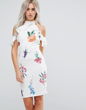 photo Floral Print Pencil Dress with Ruffle Detail by City Goddess Petite, color White - Image 2