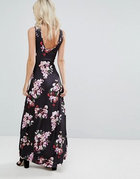 photo Floral Maxi Dress by City Goddess Petite, color Navy - Image 2