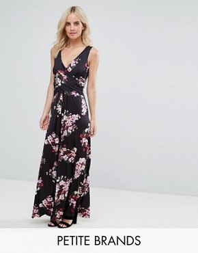 photo Floral Maxi Dress by City Goddess Petite, color Navy - Image 1