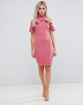 photo Pencil Dress with Ruffle Detail by City Goddess Petite, color Rose - Image 4