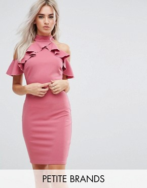 photo Pencil Dress with Ruffle Detail by City Goddess Petite, color Rose - Image 1