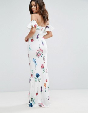 photo Bandeau Maxi Dress in Floral Print by City Goddess, color White - Image 2