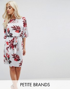 photo Floral Wrap Front Dress by City Goddess Petite, color Grey - Image 1