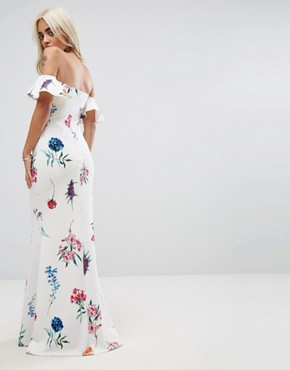 photo Bandeau Maxi Dress in Floral Print by City Goddess Petite, color White - Image 2