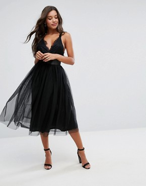 photo Lace Top Tulle Midi Prom Dress with Ribbon Ties by ASOS PREMIUM, color Black - Image 1