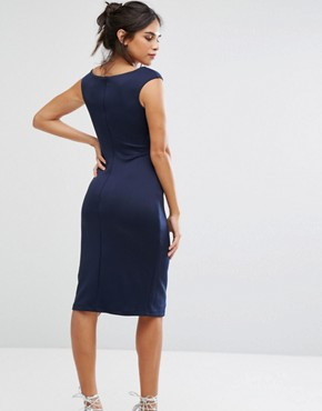 photo Bardot Pencil Dress with Lace Detail by City Goddess, color Navy - Image 2