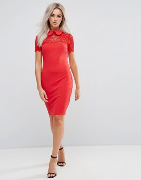 photo Collared Pencil Dress with Lace Yoke by City Goddess Petite, color Red - Image 4