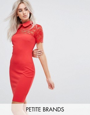 photo Collared Pencil Dress with Lace Yoke by City Goddess Petite, color Red - Image 1