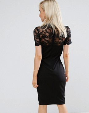 photo Collared Pencil Dress with Lace Yoke by City Goddess Petite, color Black - Image 2