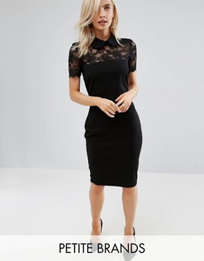 photo Collared Pencil Dress with Lace Yoke by City Goddess Petite, color Black - Image 1