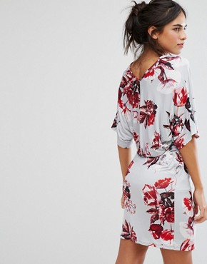 photo Floral Wrap Front Dress by City Goddess, color Grey Print - Image 2