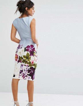 photo Pencil Midi Dress in Floral Placement Print by City Goddess, color Blue Print - Image 2
