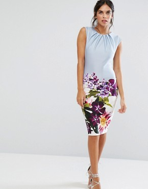 photo Pencil Midi Dress in Floral Placement Print by City Goddess, color Blue Print - Image 1