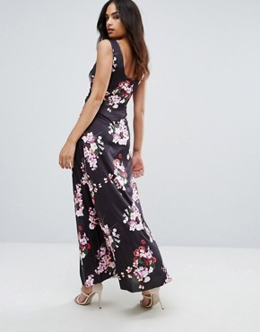 photo Floral Maxi Dress by City Goddess, color Navy Print - Image 2