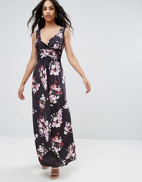 photo Floral Maxi Dress by City Goddess, color Navy Print - Image 1