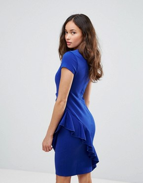 V Neck Pencil Dress With Asymmetric Ruffle Detail - Royal blue City Goddess FwMmr