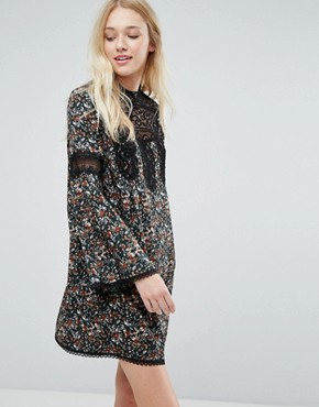 photo Floral Smock Dress with Lace Inserts by Liquorish, color Print - Image 1