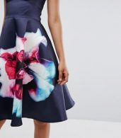 photo Bandeau Skater Dress with Placement Floral Print by City Goddess Tall, color Navy - Image 3