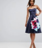 photo Bandeau Skater Dress with Placement Floral Print by City Goddess Tall, color Navy - Image 4