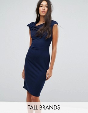 photo Bardot Pencil Dress with Lace Detail by City Goddess Tall, color Navy - Image 1