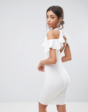 photo Pencil Dress with Ruffle Detail by City Goddess Tall, color White - Image 2