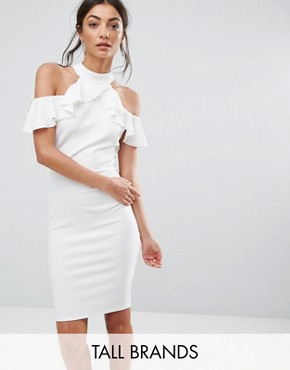 photo Pencil Dress with Ruffle Detail by City Goddess Tall, color White - Image 1