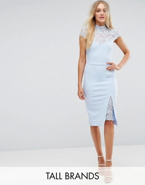 photo Pencil Dress with Lace Yoke by City Goddess Tall, color Powder Blue - Image 1