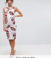 photo Strappy Pencil Dress in Floral Placement Print by City Goddess Tall, color Blue - Image 1