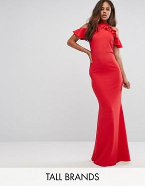 photo Maxi Dress with Ruffle Detail by City Goddess Tall, color Red - Image 1