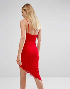 photo Asymmetric Hem Halterneck Dress by City Goddess Tall, color Red - Image 2