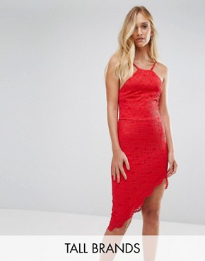 photo Asymmetric Hem Halterneck Dress by City Goddess Tall, color Red - Image 1