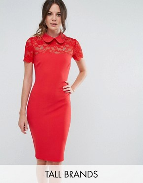 photo Collared Pencil Dress with Lace Yoke by City Goddess Tall, color Red - Image 1