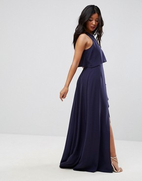 photo Crop Top Thigh Split Maxi Dress by ASOS, color Navy - Image 2